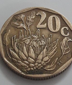 Foreign coin, beautiful flower design of South Africa in 1992-agg
