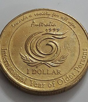 Old Australian one-dollar commemorative foreign coin, 1999-dfg