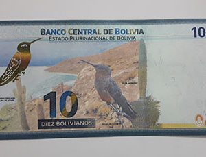 Foreign banknote of a very beautiful design of Bolivia in 1986-ded