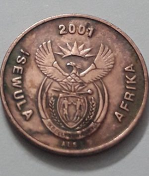 Foreign coin of beautiful and rare design of South Africa, unit 1, 2001-gbg