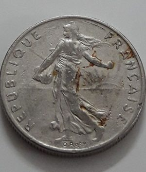 Foreign coin 1/2 French franc Beautiful design of 1977-bhh