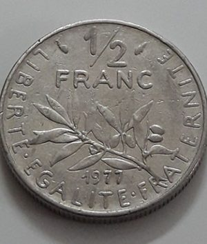 Foreign coin 1/2 French franc Beautiful design of 1977-hbh