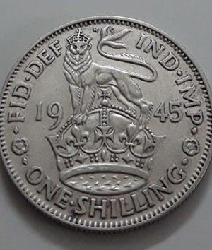 Foreign silver coin 1 British shilling King George VI in 1945-eib