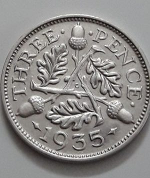 Foreign currency 3 pence silver, British King George V, 1935-edc