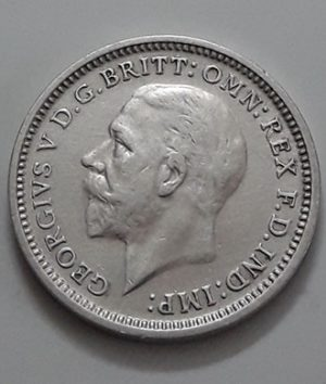 Foreign currency 3 pence silver, British King George V, 1935-cde
