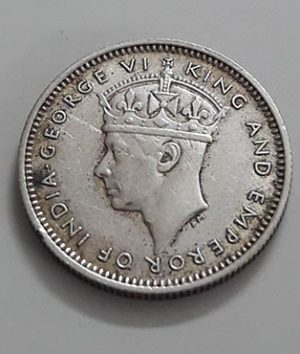 Silver coin 10 cents of the settlers of the Strait of Malayshah George VI in 1941 اااا