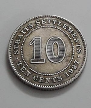 Silver coin 10 cents of the immigrants of the Strait of Malaya V j87
