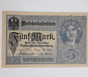 Austrian collectible banknote, very beautiful design, 1917, Austria