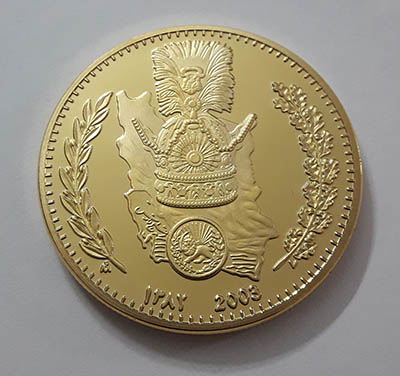 Persian prof medal of Pahlavi boy father, extremely beautiful and rare, large size gold water cover with protective capsule asww