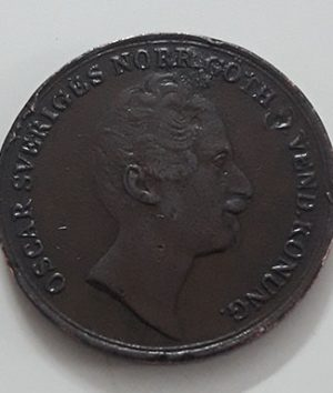Extremely rare and valuable foreign coin of Sweden 2/3 Skilling Van Ko in 1852-loa