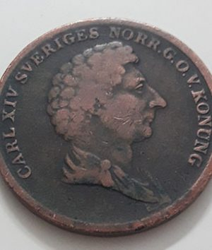 Magnificent and valuable foreign collectible coin of Sweden in 1837, large size (Unit 2 Skilling Van Co)-ann