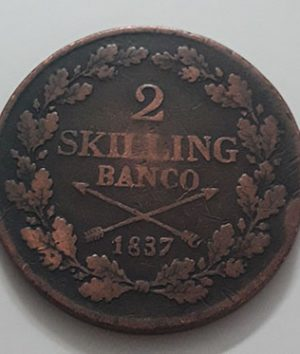 Magnificent and valuable foreign collectible coin of Sweden in 1837, large size (Unit 2 Skilling Van Co)-nan