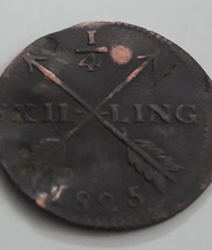 Collectible foreign coin 1/4 scaling of Sweden in 1825-eyy