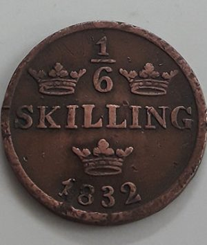 Very rare foreign collectible coin 1/6 of the Swedish skilling in 1832-heh