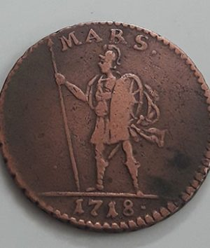 Swedish museum collectible foreign coin with a very beautiful and valuable design from 1718-fhh