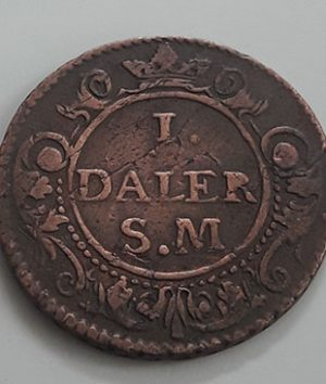 Swedish museum collectible foreign coin with a very beautiful and valuable design from 1718-hfh