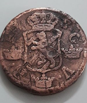 Large size collectible foreign coin of Sweden in 1747-aga