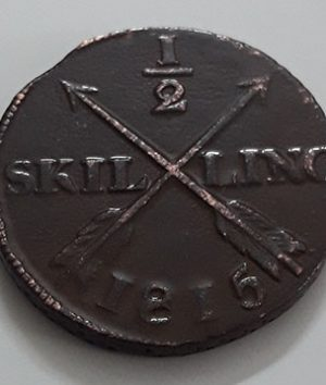 Sweden large collectible foreign coin 1/2 scaling in 1815 (bank quality)-gkk