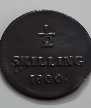 Collectible foreign coins 1/2 skilling from Sweden in 1800 with excellent quality-gll