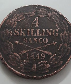 Extremely rare foreign collectible coin of Sweden, 4 Skilling Van Ko, 1849-fgh