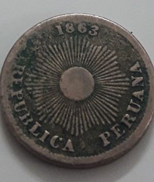Super rare foreign collectible coin of Peru in 1863-gfd