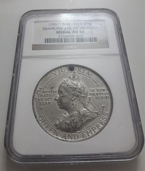 Extraordinarily beautiful, rare and valuable collection medal of Queen Victoria (Certificate) 1897 Banking quality-fds
