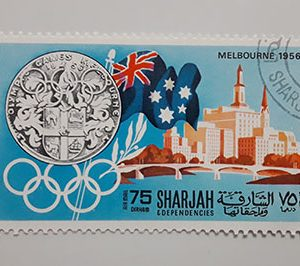 Foreign stamp of the beautiful design of the 1956 Olympics-qwa