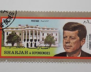 Foreign stamps of Arab countries with Kennedy image-qwd
