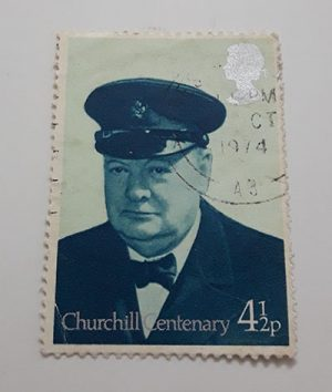 British foreign collectible stamp Churchill image-cnn