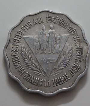 Foreign commemorative collectible coin of India in 1974-fjj