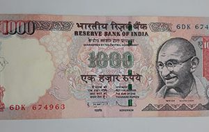 Rare Collectible Foreign Banknotes of India Gandhi Image Unit 1000 (Banking Quality)-gnn