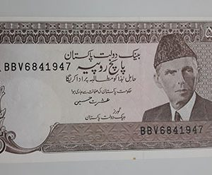 A very beautiful and rare collectible foreign banknote of Pakistan, Unit 5-hii