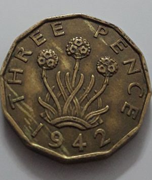 Collectible foreign coins 3 pence British King George VI 1942-jpp