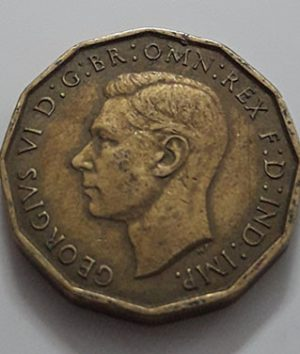 Collectible foreign coins 3 pence British King George VI 1942-pjp