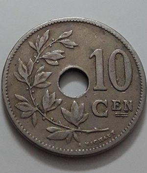 Collectible foreign coin, beautiful and rare design, Belgium, unit 10, 1906-cjc