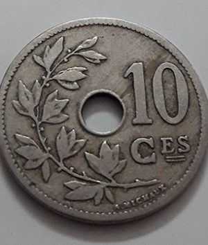 Collectible foreign coin, beautiful and rare design, Belgium, unit 10, 1904-jbb