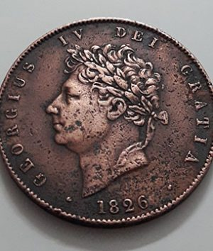 Extraordinarily rare and rarely seen collectible foreign coins 1/2 British penny King George IV 1826-kii