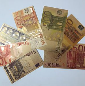 Set of 7 euro fancy foreign banknotes in gold plated (bank quality)-kmm