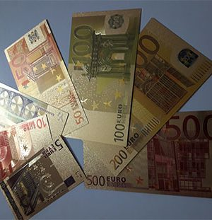 Set of 7 euro fancy foreign banknotes in gold plated (bank quality)-mkm