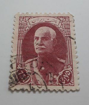 Collectible Iranian stamp of Reza Shah series naked head without French subtitles 75 dinars (red brown)-art
