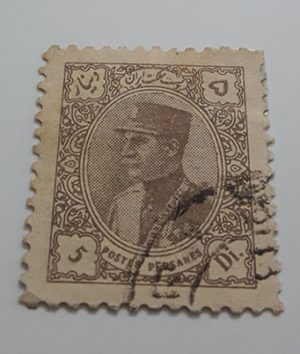 Collectible Iranian stamp of Reza Shah series naked head without French subtitles 5 dinars (brown) in 1913-ary