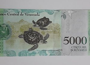 Collectible foreign banknote of the new type of Venezuela, 5000 units, 2017-xar
