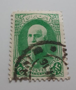 Collectible Iranian stamp of Reza Shah series naked head without French subtitles 30 dinars (green)-atr