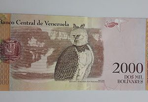 Collectible foreign banknote of the new type of Venezuela, unit 2000, 2016-yta