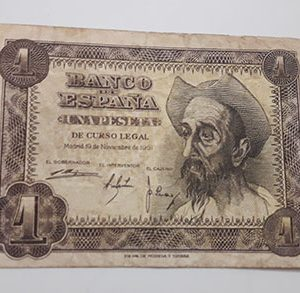 Collectible foreign banknote, beautiful design of Spain, small size, rare type, 1951-aqg