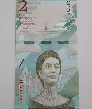 Collectible foreign banknote of the new type of Venezuela, unit 2, 2018-ayv