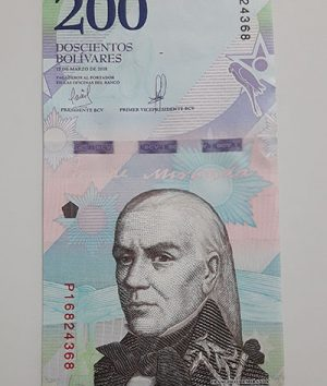Collectible foreign banknote of the new type of Venezuela, unit 200, 2018-auf