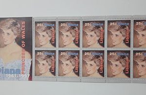 Collectible Foreign Stamp Sheet Picture of Princess Diana-aux