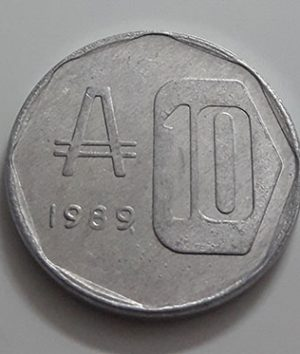Collectible foreign coin of Argentina, unit 10, 1989-aig