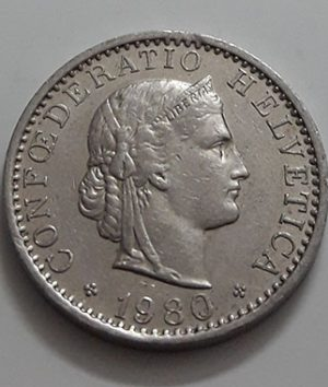 Collectible foreign coins of Switzerland in 1980-aik